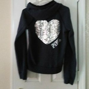 Victoria Secret denim blue heart sequin hoodie